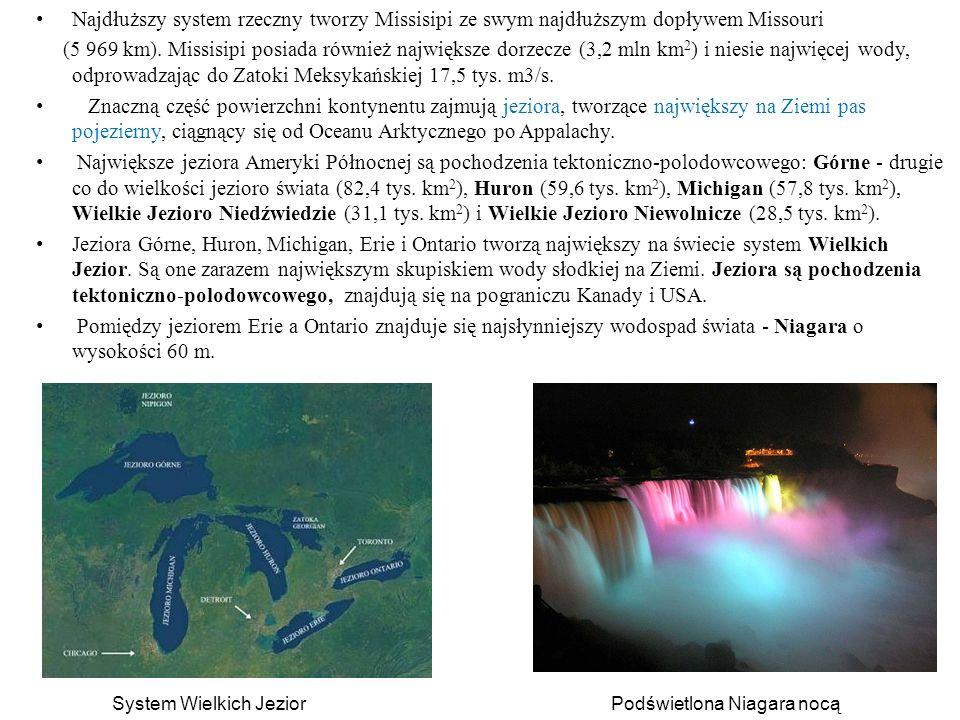 Najdłuższy system rzeczny tworzy Missisipi ze swym najdłuższym dopływem Missouri (5 969 km). Missisipi posiada również największe dorzecze (3,2 mln km