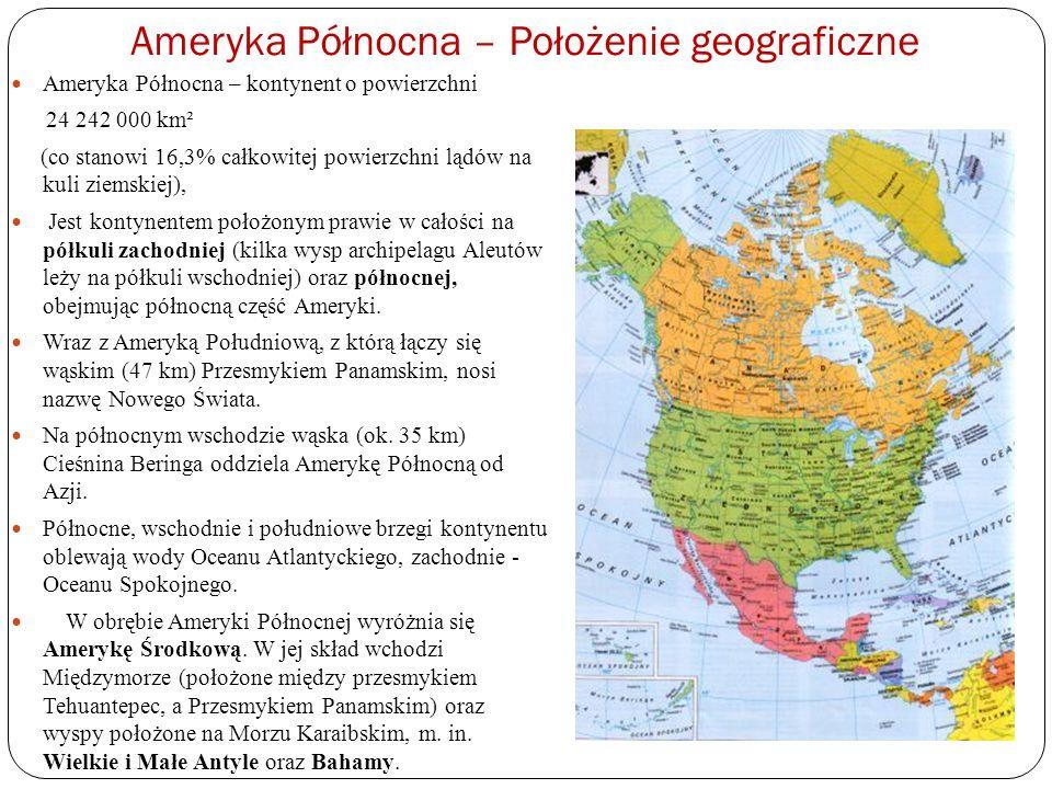 Skrajne punkty Ameryki Północnej Rozciągłość południkowa Ameryki Północnej (7170 km) zbliżona jest do równoleżnikowej (ok.