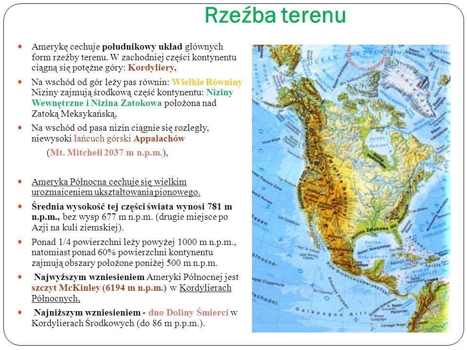 Około 9% Ameryki Północnej zajmują obszary zlodowacone, w skład których wchodzi lądolód pokrywający prawie całą Grenlandię (1,6 km2 i 3 500 m grubości), czapy lodowcowe na wyspach wschodniej części Archipelagu Arktycznego oraz zlodowacenie górskie w Kordylierach.