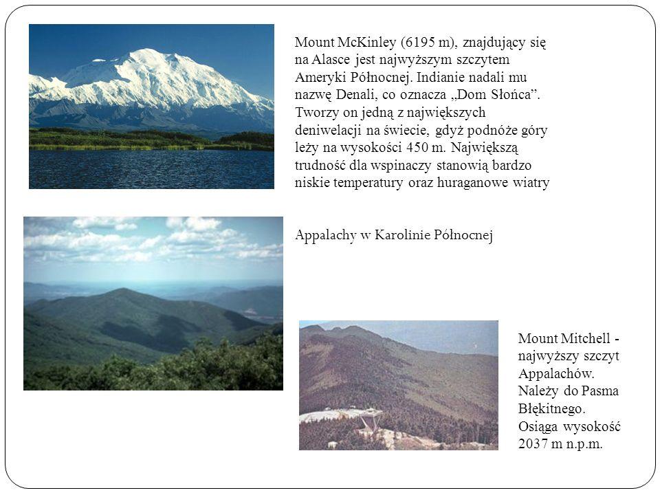 Mount McKinley (6195 m), znajdujący się na Alasce jest najwyższym szczytem Ameryki Północnej. Indianie nadali mu nazwę Denali, co oznacza Dom Słońca.