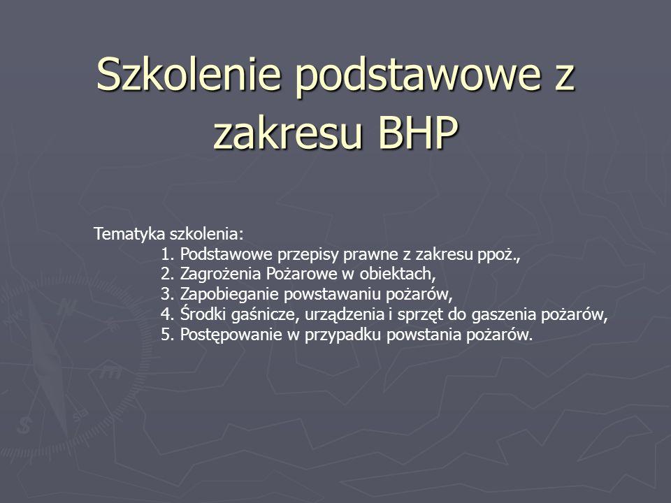 Szkolenie podstawowe z zakresu BHP Tematyka szkolenia: 1. Podstawowe przepisy prawne z zakresu ppoż., 2. Zagrożenia Pożarowe w obiektach, 3. Zapobiega