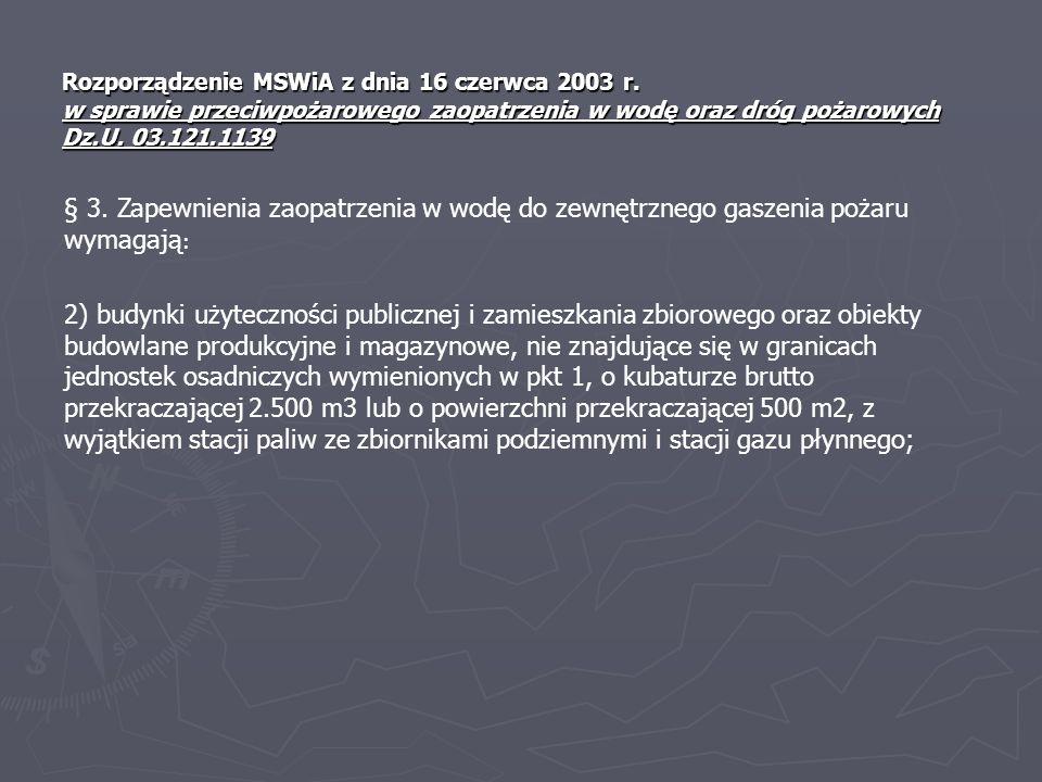 Rozporządzenie MSWiA z dnia 16 czerwca 2003 r. w sprawie przeciwpożarowego zaopatrzenia w wodę oraz dróg pożarowych Dz.U. 03.121.1139 § 3. Zapewnienia