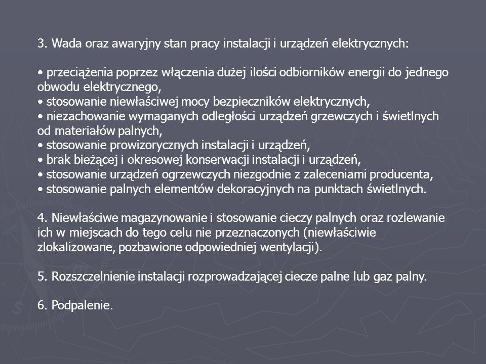 3. Wada oraz awaryjny stan pracy instalacji i urządzeń elektrycznych: przeciążenia poprzez włączenia dużej ilości odbiorników energii do jednego obwod