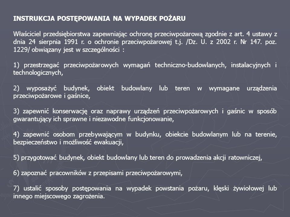 INSTRUKCJA POSTĘPOWANIA NA WYPADEK POŻARU Właściciel przedsiębiorstwa zapewniając ochronę przeciwpożarową zgodnie z art. 4 ustawy z dnia 24 sierpnia 1