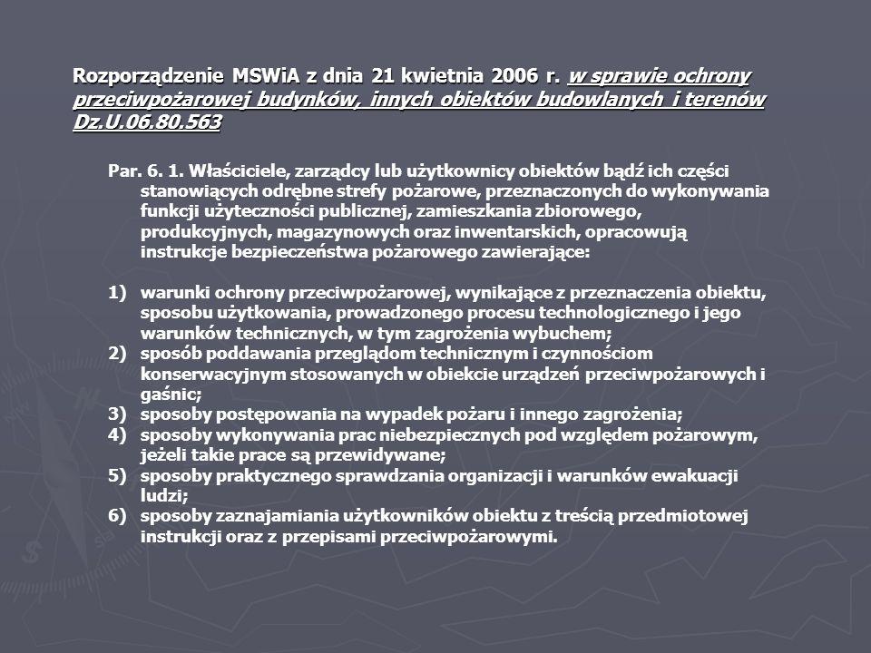 Rozporządzenie MSWiA z dnia 21 kwietnia 2006 r. w sprawie ochrony przeciwpożarowej budynków, innych obiektów budowlanych i terenów Dz.U.06.80.563 Par.