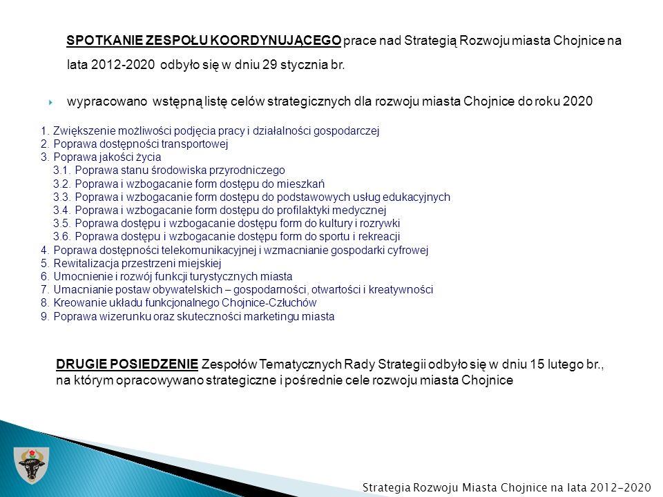 SPOTKANIE ZESPOŁU KOORDYNUJĄCEGO prace nad Strategią Rozwoju miasta Chojnice na lata 2012-2020 odbyło się w dniu 29 stycznia br. wypracowano wstępną l