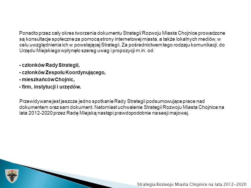 Ponadto przez cały okres tworzenia dokumentu Strategii Rozwoju Miasta Chojnice prowadzone są konsultacje społeczne za pomocą strony internetowej miast