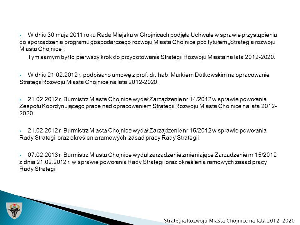 W dniu 30 maja 2011 roku Rada Miejska w Chojnicach podjęła Uchwałę w sprawie przystąpienia do sporządzenia programu gospodarczego rozwoju Miasta Chojn