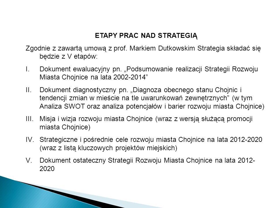 ETAPY PRAC NAD STRATEGIĄ Zgodnie z zawartą umową z prof. Markiem Dutkowskim Strategia składać się będzie z V etapów: I.Dokument ewaluacyjny pn. Podsum