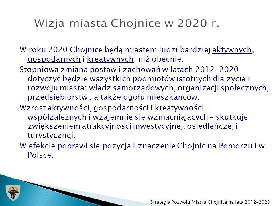 W roku 2020 Chojnice będą miastem ludzi bardziej aktywnych, gospodarnych i kreatywnych, niż obecnie. Stopniowa zmiana postaw i zachowań w latach 2012-