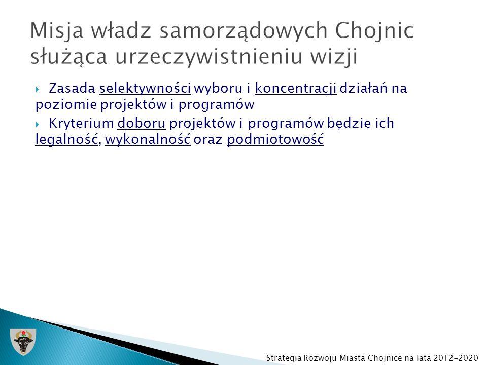 Zasada selektywności wyboru i koncentracji działań na poziomie projektów i programów Kryterium doboru projektów i programów będzie ich legalność, wyko