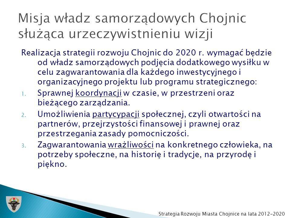 Realizacja strategii rozwoju Chojnic do 2020 r. wymagać będzie od władz samorządowych podjęcia dodatkowego wysiłku w celu zagwarantowania dla każdego