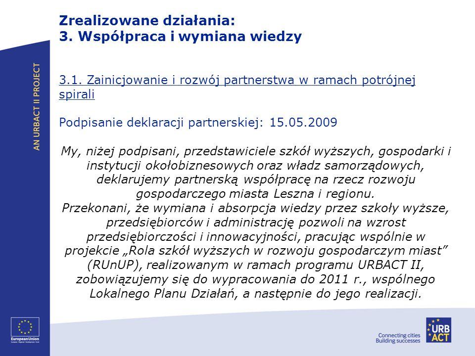 3.1. Zainicjowanie i rozwój partnerstwa w ramach potrójnej spirali Podpisanie deklaracji partnerskiej: 15.05.2009 My, niżej podpisani, przedstawiciele