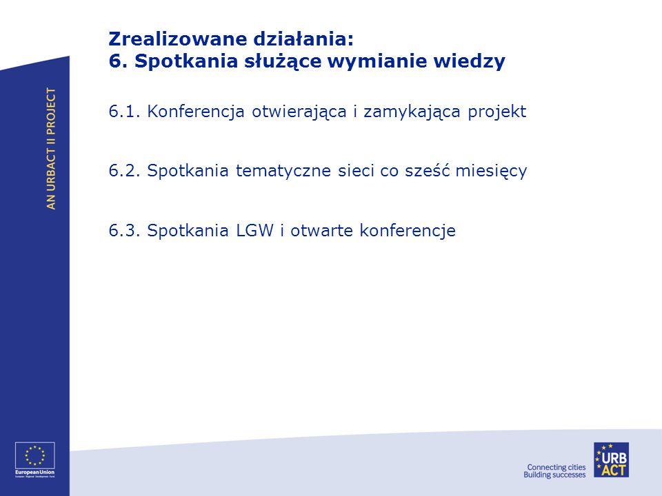 Zrealizowane działania: 6. Spotkania służące wymianie wiedzy 6.1. Konferencja otwierająca i zamykająca projekt 6.2. Spotkania tematyczne sieci co sześ