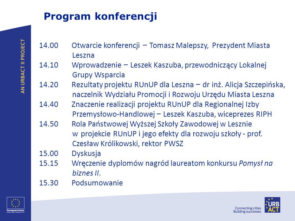 14.00 Otwarcie konferencji – Tomasz Malepszy, Prezydent Miasta Leszna 14.10 Wprowadzenie – Leszek Kaszuba, przewodniczący Lokalnej Grupy Wsparcia 14.2