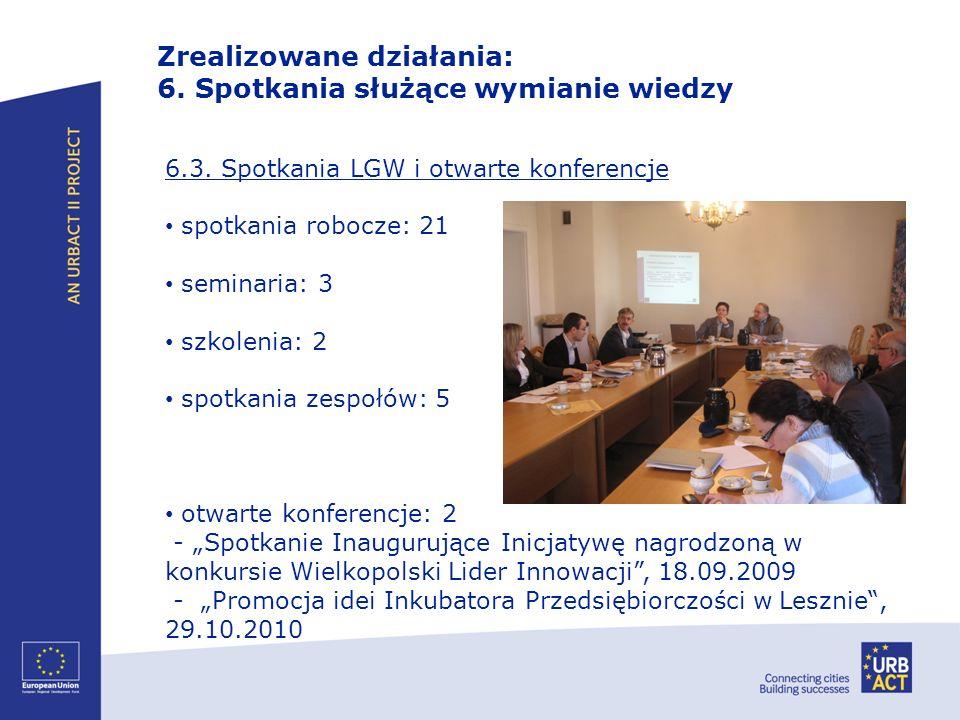 Zrealizowane działania: 6. Spotkania służące wymianie wiedzy 6.3. Spotkania LGW i otwarte konferencje spotkania robocze: 21 seminaria: 3 szkolenia: 2