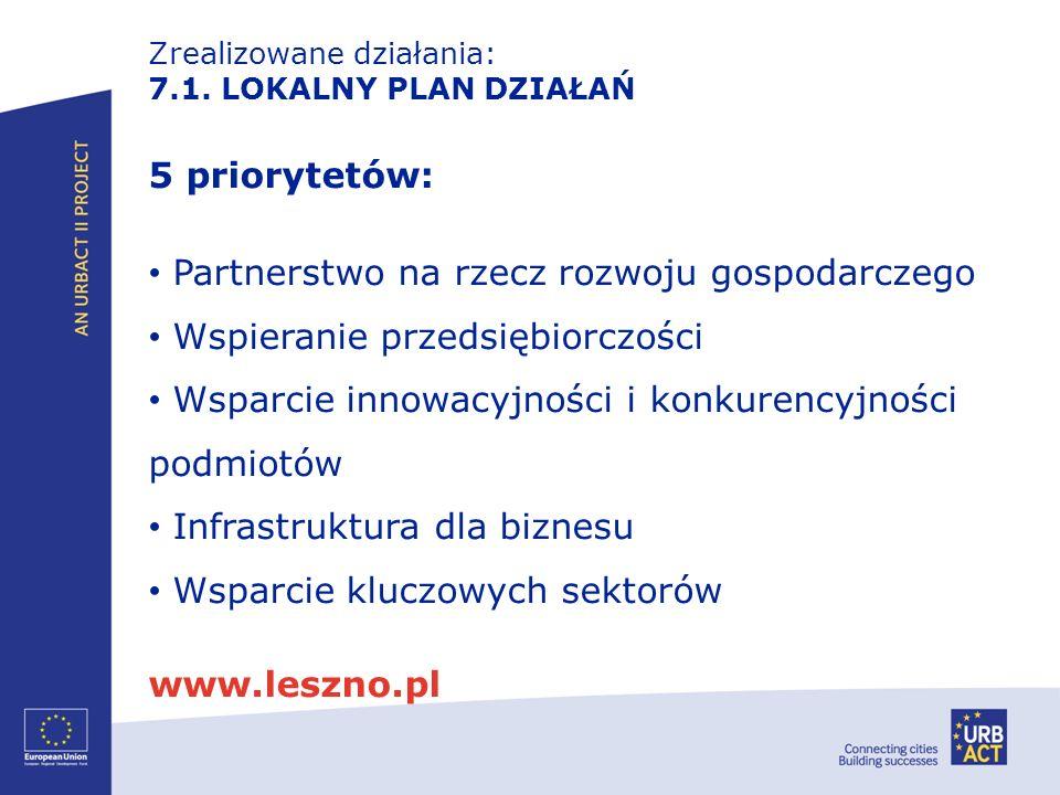 Zrealizowane działania: 7.1. LOKALNY PLAN DZIAŁAŃ 5 priorytetów: Partnerstwo na rzecz rozwoju gospodarczego Wspieranie przedsiębiorczości Wsparcie inn