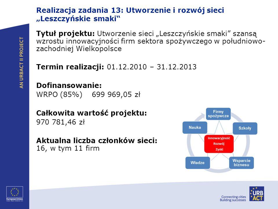 Realizacja zadania 13: Utworzenie i rozwój sieci Leszczyńskie smaki Tytuł projektu: Utworzenie sieci Leszczyńskie smaki szansą wzrostu innowacyjności