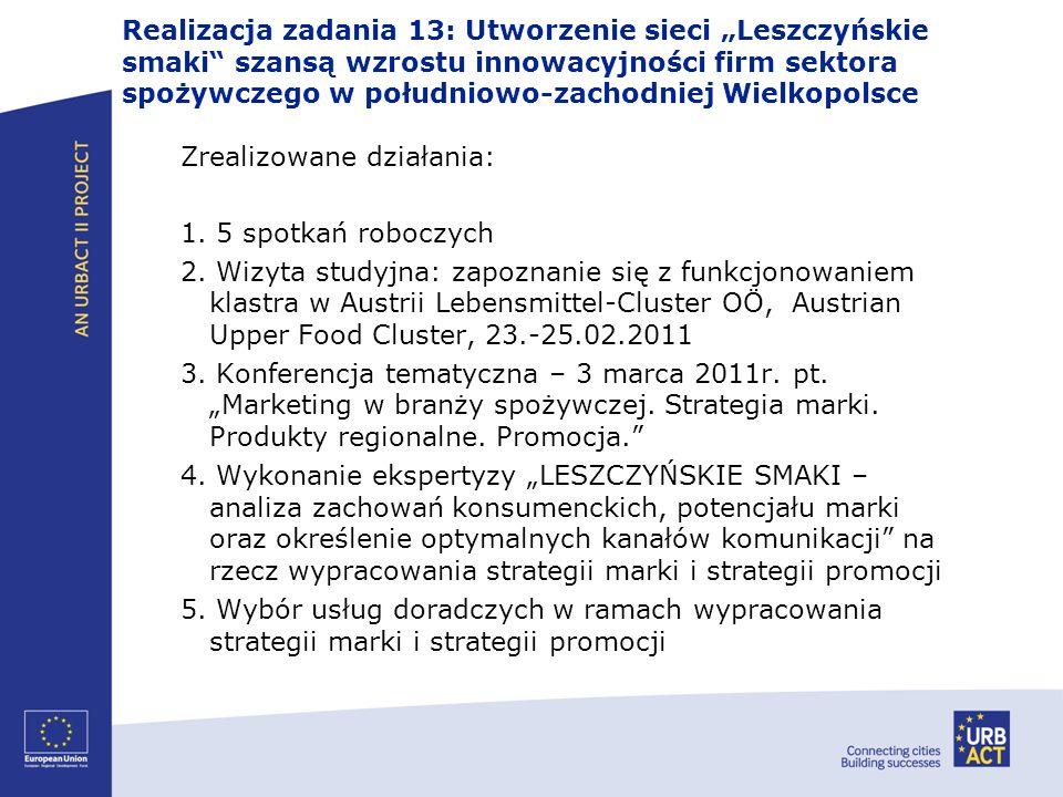 Realizacja zadania 13: Utworzenie sieci Leszczyńskie smaki szansą wzrostu innowacyjności firm sektora spożywczego w południowo-zachodniej Wielkopolsce