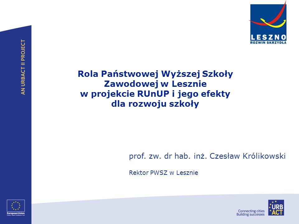 prof. zw. dr hab. inż. Czesław Królikowski Rektor PWSZ w Lesznie Rola Państwowej Wyższej Szkoły Zawodowej w Lesznie w projekcie RUnUP i jego efekty dl