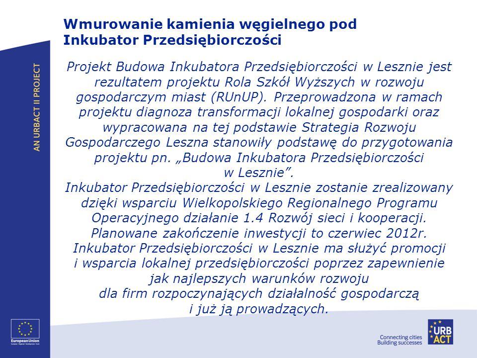 Projekt Budowa Inkubatora Przedsiębiorczości w Lesznie jest rezultatem projektu Rola Szkół Wyższych w rozwoju gospodarczym miast (RUnUP). Przeprowadzo