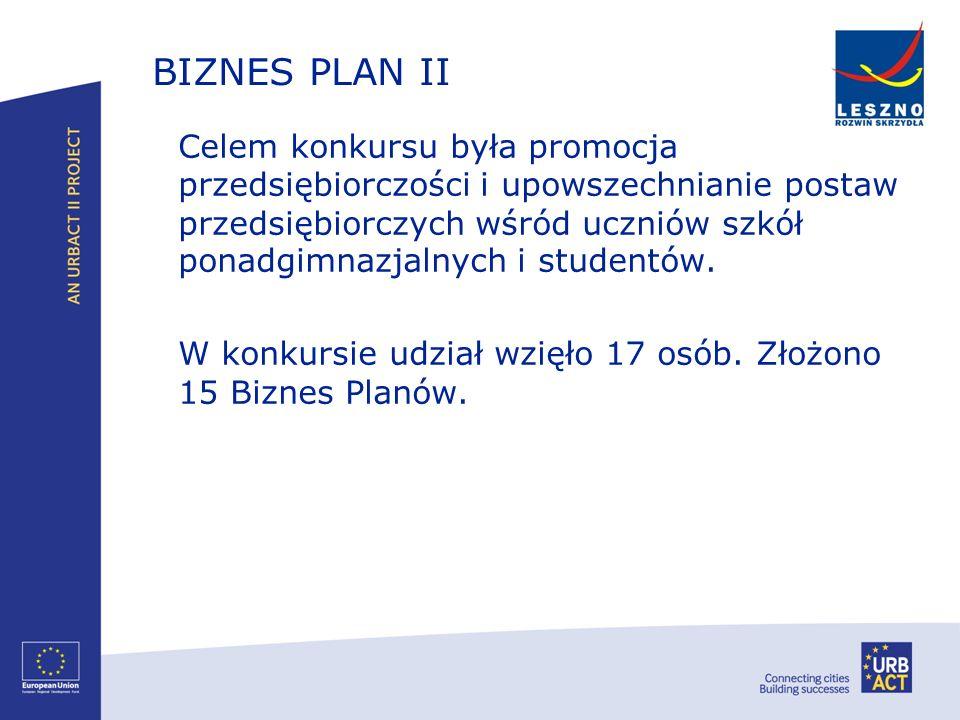 BIZNES PLAN II Celem konkursu była promocja przedsiębiorczości i upowszechnianie postaw przedsiębiorczych wśród uczniów szkół ponadgimnazjalnych i stu