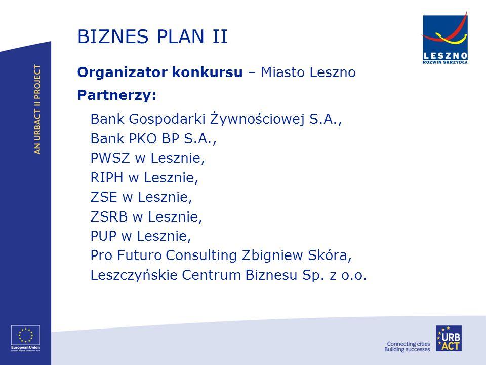 BIZNES PLAN II Organizator konkursu – Miasto Leszno Partnerzy: Bank Gospodarki Żywnościowej S.A., Bank PKO BP S.A., PWSZ w Lesznie, RIPH w Lesznie, ZS
