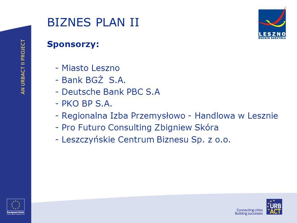 BIZNES PLAN II Sponsorzy: - Miasto Leszno - Bank BGŻ S.A. - Deutsche Bank PBC S.A - PKO BP S.A. - Regionalna Izba Przemysłowo - Handlowa w Lesznie - P