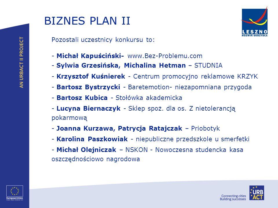 BIZNES PLAN II Pozostali uczestnicy konkursu to: - Michał Kapuściński- www.Bez-Problemu.com - Sylwia Grzesińska, Michalina Hetman – STUDNIA - Krzyszto