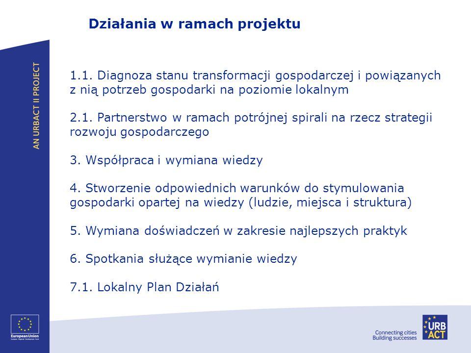 Działania w ramach projektu 1.1. Diagnoza stanu transformacji gospodarczej i powiązanych z nią potrzeb gospodarki na poziomie lokalnym 2.1. Partnerstw