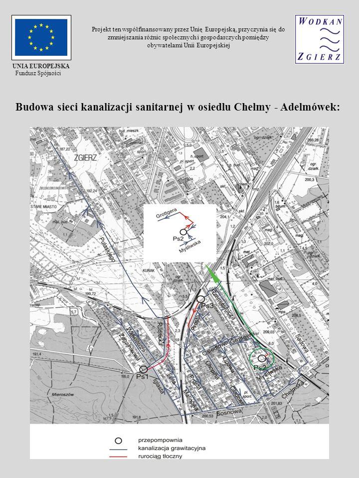 Budowa sieci kanalizacji sanitarnej w osiedlu Chełmy - Adelmówek: UNIA EUROPEJSKA Fundusz Spójności Projekt ten współfinansowany przez Unię Europejską