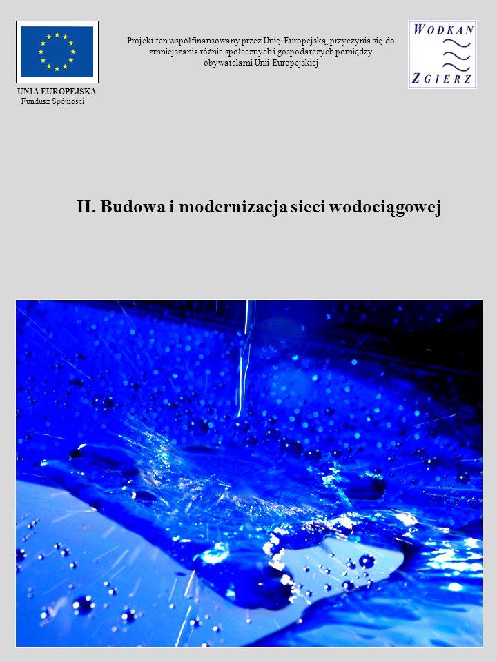 II. Budowa i modernizacja sieci wodociągowej UNIA EUROPEJSKA Fundusz Spójności Projekt ten współfinansowany przez Unię Europejską, przyczynia się do z