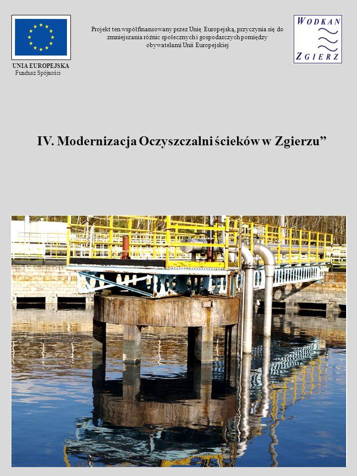 IV. Modernizacja Oczyszczalni ścieków w Zgierzu UNIA EUROPEJSKA Fundusz Spójności Projekt ten współfinansowany przez Unię Europejską, przyczynia się d