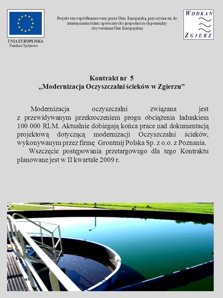 Modernizacja oczyszczalni związana jest z przewidywanym przekroczeniem progu obciążenia ładunkiem 100 000 RLM. Aktualnie dobiegają końca prace nad dok