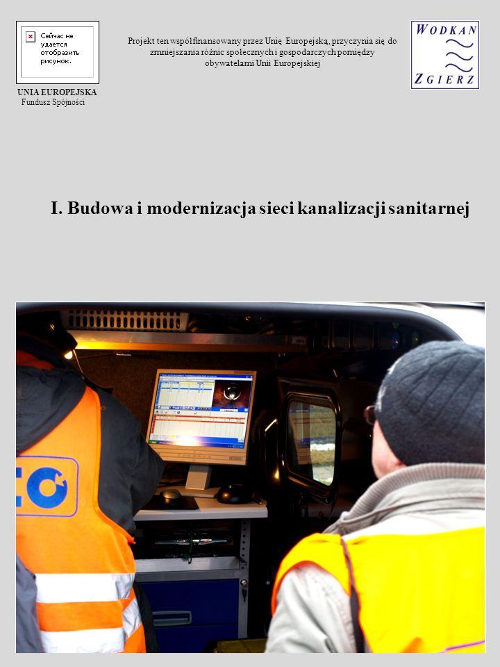 I. Budowa i modernizacja sieci kanalizacji sanitarnej UNIA EUROPEJSKA Fundusz Spójności Projekt ten współfinansowany przez Unię Europejską, przyczynia
