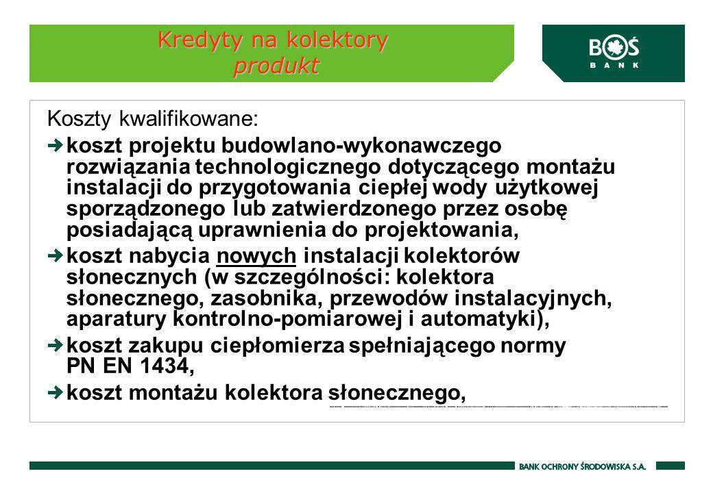 Kredyty na kolektory produkt Koszty kwalifikowane: koszt projektu budowlano-wykonawczego rozwiązania technologicznego dotyczącego montażu instalacji d