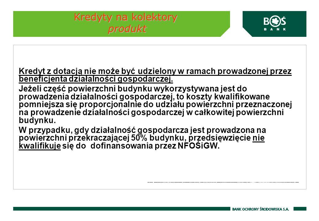 Kredyty na kolektory produkt Podstawowe parametry kredytu: Waluta produktu - PLN Maksymalny okres kredytowania: do 8 lat dla osób fizycznych do 20 lat dla wspólnot mieszkaniowych Karencja w spłacie kapitału kredytu - do 6 miesięcy Opłaty i prowizje - zgodnie z obowiązującą Taryfą opłat i prowizji za czynności bankowe w obrocie krajowym i zagranicznym dla klientów indywidualnych i dla wspólnot mieszkaniowych Prowizja przygotowawcza - od kwoty przyznanego kredytu: 4,00% *) min.