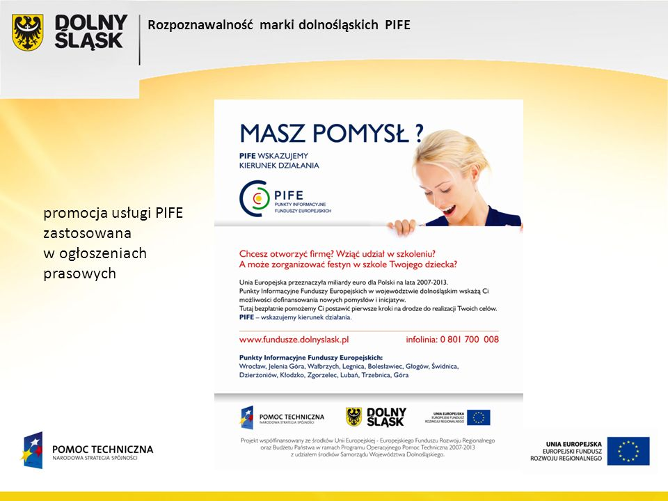 Rozpoznawalność marki dolnośląskich PIFE promocja usługi PIFE zastosowana w ogłoszeniach prasowych