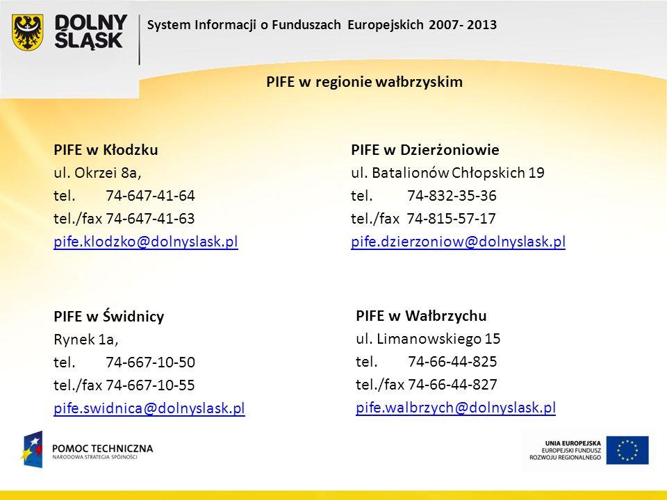 System Informacji o Funduszach Europejskich 2007- 2013 PIFE w regionie wałbrzyskim PIFE w Wałbrzychu ul. Limanowskiego 15 tel. 74-66-44-825 tel./fax 7