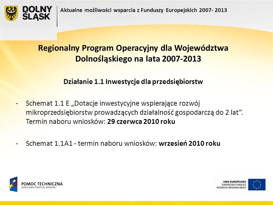 Regionalny Program Operacyjny dla Województwa Dolnośląskiego na lata 2007-2013 Działanie 1.1 Inwestycje dla przedsiębiorstw -Schemat 1.1 E Dotacje inw