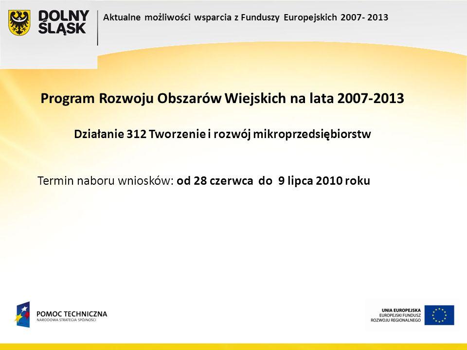 Program Rozwoju Obszarów Wiejskich na lata 2007-2013 Działanie 312 Tworzenie i rozwój mikroprzedsiębiorstw Termin naboru wniosków: od 28 czerwca do 9