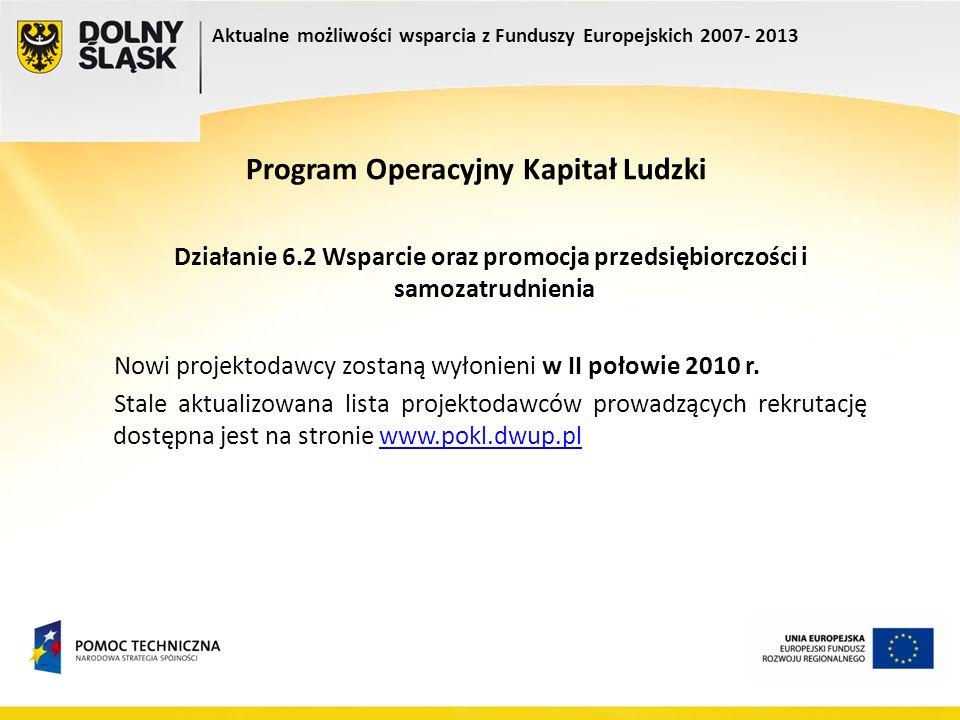 Program Operacyjny Kapitał Ludzki Działanie 6.2 Wsparcie oraz promocja przedsiębiorczości i samozatrudnienia Nowi projektodawcy zostaną wyłonieni w II
