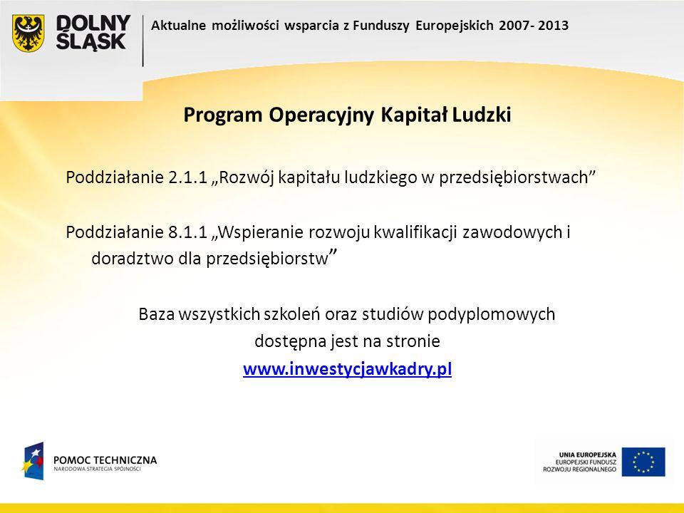 Program Operacyjny Kapitał Ludzki Poddziałanie 2.1.1 Rozwój kapitału ludzkiego w przedsiębiorstwach Poddziałanie 8.1.1 Wspieranie rozwoju kwalifikacji