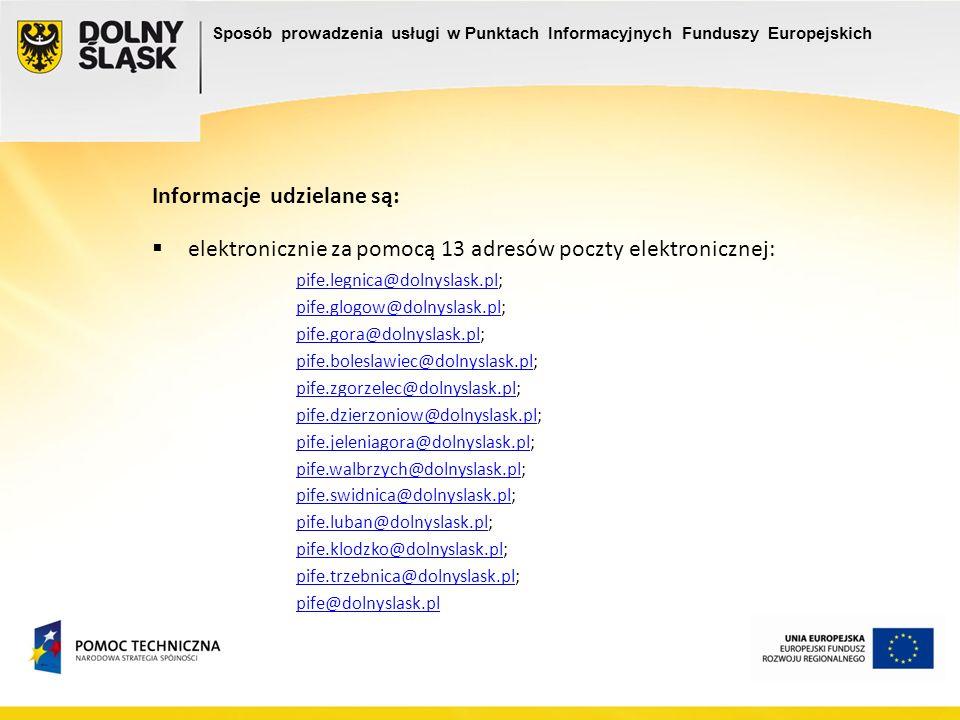 Informacje udzielane są: elektronicznie za pomocą 13 adresów poczty elektronicznej: pife.legnica@dolnyslask.plpife.legnica@dolnyslask.pl; pife.glogow@