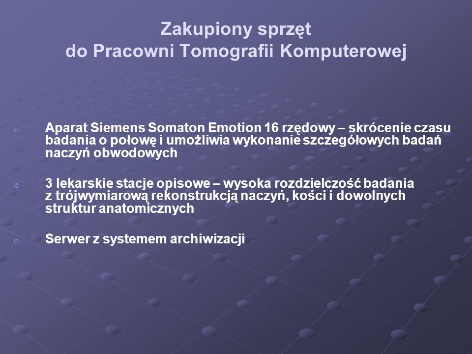 Zakupiony sprzęt do Pracowni Tomografii Komputerowej Aparat Siemens Somaton Emotion 16 rzędowy – skrócenie czasu badania o połowę i umożliwia wykonani