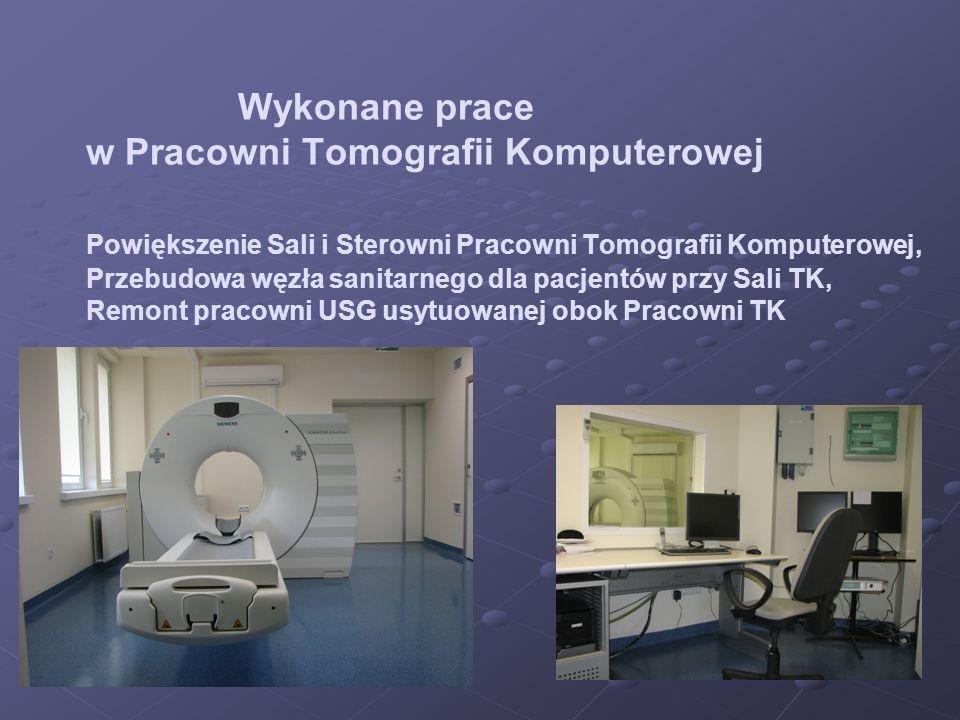 Wykonane prace w Pracowni Tomografii Komputerowej Powiększenie Sali i Sterowni Pracowni Tomografii Komputerowej, Przebudowa węzła sanitarnego dla pacj