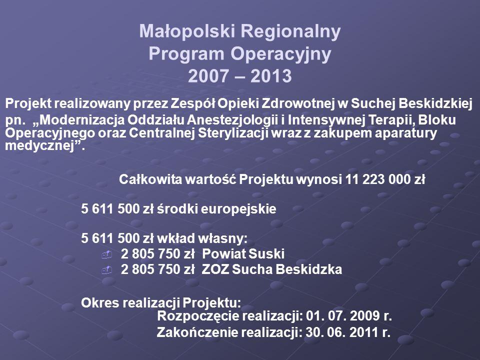 Małopolski Regionalny Program Operacyjny 2007 – 2013 Projekt realizowany przez Zespół Opieki Zdrowotnej w Suchej Beskidzkiej pn. Modernizacja Oddziału