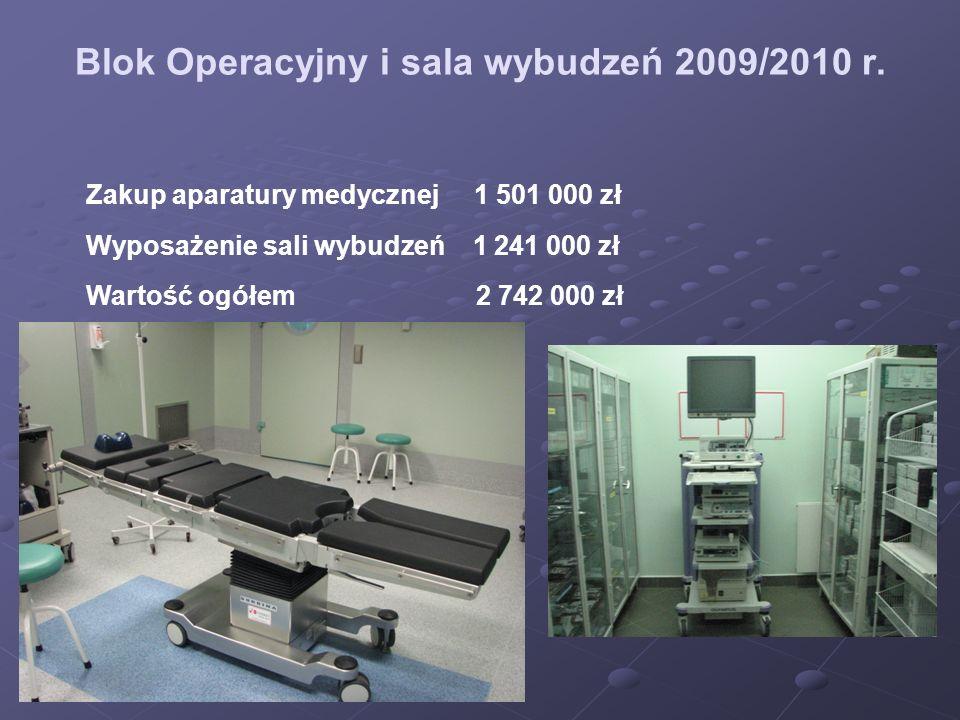 Blok Operacyjny i sala wybudzeń 2009/2010 r. Zakup aparatury medycznej 1 501 000 zł Wyposażenie sali wybudzeń 1 241 000 zł Wartość ogółem 2 742 000 zł