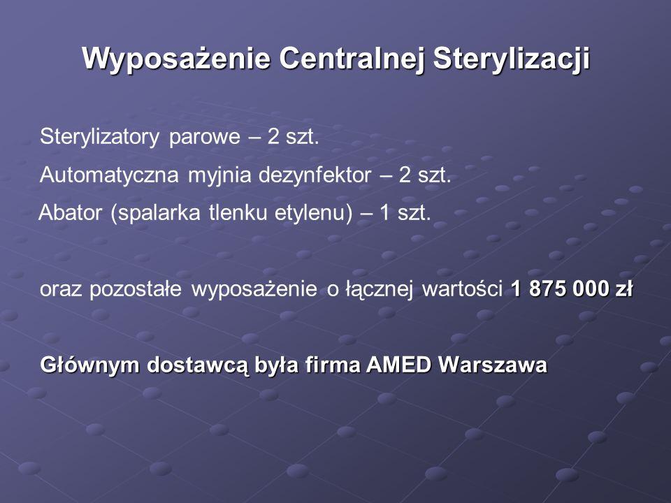 Wyposażenie Centralnej Sterylizacji Sterylizatory parowe – 2 szt. Automatyczna myjnia dezynfektor – 2 szt. Abator (spalarka tlenku etylenu) – 1 szt. 1