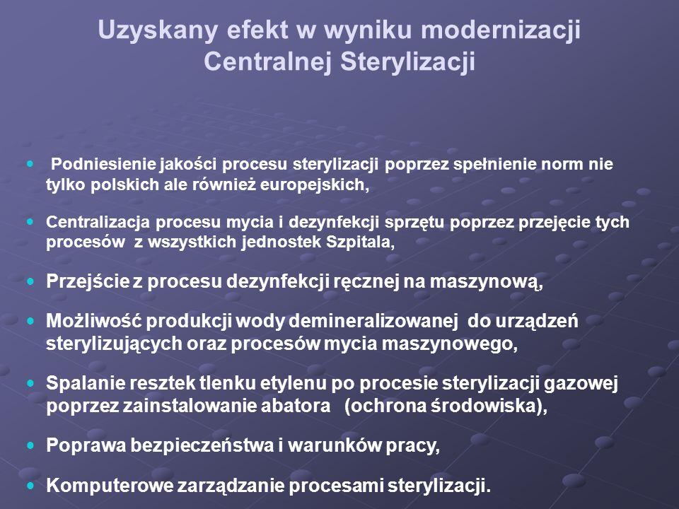 Uzyskany efekt w wyniku modernizacji Centralnej Sterylizacji Podniesienie jakości procesu sterylizacji poprzez spełnienie norm nie tylko polskich ale